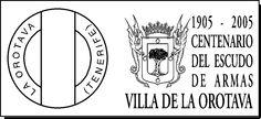 Matasellos Conmemorativo del Centenario del Escuo de Armas del Municipio de Las Orotava. 1905-2005. La Orotava, Tenerife, Islas Canarias.