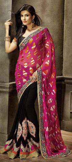 172793 Black and Grey, Pink and Majenta  color family Embroidered Sarees, Party Wear Sarees in Brasso, Faux Georgette fabric with Border, Machine Embroidery, Patch, Stone work   with matching unstitched blouse.