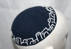 kippah navy blue and white embroidery by crochetkippah on Etsy