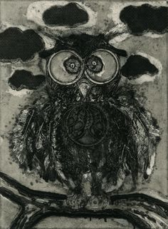 Krystina Plante  owl, 2010 collagraph from found objects