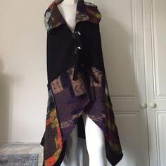 Waistcoat/Gilet in Boiled Wool Asymmetrical by Sarah Santos of Italy - Black