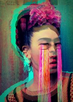 face portrait colourful abstract tears blurred photo montage collage