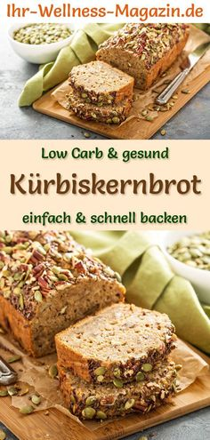 Low Carb Kürbiskernbrot - gesundes Rezept zum Brot backen Baking healthy pumpkin seed bread: Simple low-carb recipe for a quick, protein-rich bread without yeast - with yoghurt, curd cheese and Pumpkin Seed Bread Recipe, Baking Recipes, Keto Recipes, Healthy Recipes, Recipes Dinner, Healthy Herbs, Snacks Recipes, Quick Recipes, Clean Recipes