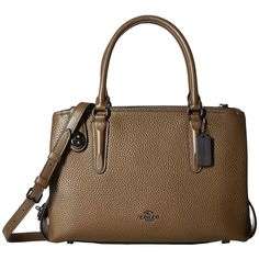 COACH Pebbled Brooklyn 28 Carryall (Dk/Fatigue) Handbags ($495) ❤ liked on Polyvore featuring bags, handbags, coach purses, coach handbags, pebbled leather handbags, brown handbags and coach tote