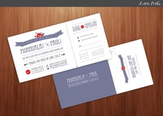 Wedding Invitation - Cut/Tear Off RSVP card.