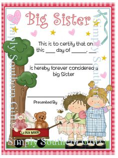 DIY Instant Digital Download Big Sister Certificate To Personalize. Unlimited Prints