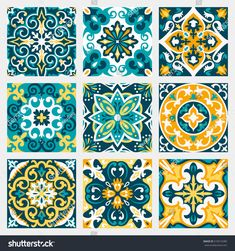 set with beautiful seamless ornamental tile background. vector illustration can be used for desktop wallpaper or frame for a wall hanging or posterfor pattern fills surface textures textile. Decorative Tile, Decorative Boxes, Tile Patterns, Print Patterns, Mundo Hippie, Spanish Home Decor, Ceramic Tile Art, Moroccan Decor, Moroccan Bedroom