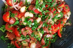 Warm chorizo, bean and red pepper salad » The Blood Sugar Diet by Michael Mosley