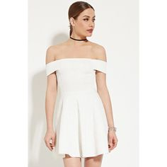 Forever 21 Women's  Off-the-Shoulder A-Line Dress ($33) ❤ liked on Polyvore featuring dresses, forever 21 dresses, off shoulder dress, forever 21, white sleeve dress and white short sleeve dress