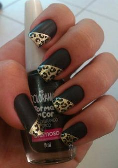 I like the combo, but I would probably do 2 nails on each hand with the cheetah pattern on the whole nail and the rest plain black.