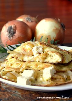 Banting on a budget. Caramelized onion and feta cheese omelette .  #banting…