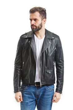 Our Leather Renaissance Men's Nappa Moto Jacket is an updated take on an exceptional classic. Made for the modern-day rebel, our black moto jacket brandishes all the features that make the design so striking, including triangle lapels, silver fasteners and an asymmetrical front zip, embodying the spirit of classic bad boys like James Dean and Marlon Brando. Leather Jacket Outfits, Men's Leather Jacket, Moto Jacket, Leather Men, Motorcycle Jacket, Jacket Men, Italian Leather Jackets, Leather Jackets For Sale, Jackets For Women