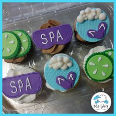 Adorable spa themed cupcakes featuring cucumbers, sleep masks and shower slippers! Spa Birthday Cake, Spa Birthday Parties, 11th Birthday, Slumber Parties, Birthday Ideas, Sleepover Party, Spa Day Party, Kids Spa Party, Pamper Party