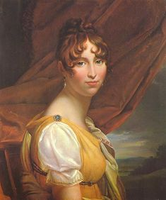 """""""Hortense de Beauharnais"""", 1800-10, by François Gérard (French, 1770-1837). Hortense Eugénie Cécile Bonaparte, (née de Beauharnais) (1783-1837), Queen Consort of Holland, was the stepdaughter of Emperor Napoleon I, being the daughter of his first wife, Joséphine de Beauharnais. She later became the wife of the former's brother, Louis Bonaparte, King of Holland, and the mother of Napoleon III, Emperor of the French."""