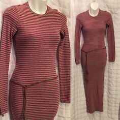 Maxi T-shirt dress free people XS Awesome grey with red striped slightly textured a T-shirt maxi dress. Straight cut cotton/acrylic  dress has lots of stretch size extra small 24 inches around but will stretch up to 40 inches also including a cute simulated leather tie belt, belt is not by free people. Free People Dresses Maxi