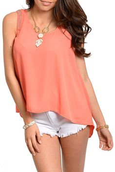 DHStyles Women's Coral Trendy Chiffon Beaded Shoulder High-Low Tank Top #sexytops #clubclothes #sexydresses #fashionablesexydress #sexyshirts #sexyclothes #cocktaildresses #clubwear #cheapsexydresses #clubdresses #cheaptops #partytops #partydress #haltertops #cocktaildresses #partydresses #minidress #nightclubclothes #hotfashion #juniorsclothing #cocktaildress #glamclothing #sexytop #womensclothes #clubbingclothes #juniorsclothes #juniorclothes #trendyclothing #minidresses #sexyclothing…