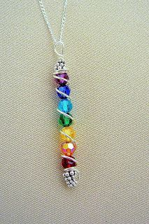 Beautiful rainbow colors with silver twining through, or you could use the colors for each of your children. A cheap alternative to the family birthstone necklace!