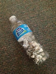 Best toy ever! Water bottle with aluminum foil pieces. Entertains baby for hours!