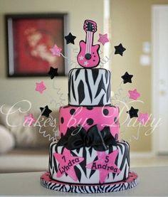 Zebra Rock Star Birthday Cake- Amy spotted this cake for her bday :) … Rockstar Birthday, Barbie Birthday, Birthday Cake Girls, Birthday Cakes, Happy Birthday, 7th Birthday Party Ideas, Birthday Parties, Pop Star Party, Diva Cakes