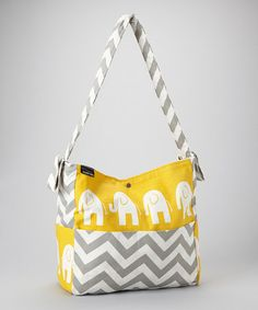 Love this Yellow & Gray Zigzag Elephant Diaper Bag by Brownie Gifts on #zulily! #zulilyfinds