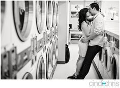 Laundromat engagement...awesome!  Anyone want to do this??? :)