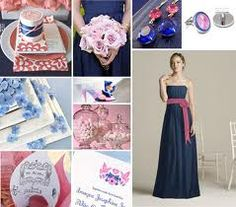 navy and pale pink flowers