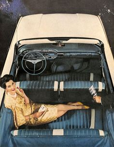 1960 Ford Sunliner Convertible and model wearing brocade 3 part suit. Vogue. October 1959.