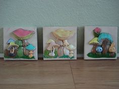 Vintage 1970s Tiles Decorative Mushroom Wall by bycinbyhand