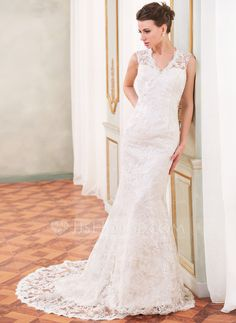 Trumpet/Mermaid V-neck Chapel Train Charmeuse Lace Wedding Dress With Beading Sequins (002055088) - JJsHouse