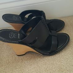 """Joan & David Leather Black Slip On Wedge Sandal Joan &  David (Circa Comfort 365) Black Leather sandal is stylish and easy to wear with a rubber sole and has a solid wood 4""""wedge heel. Great condition. Joan & David Shoes Wedges"""