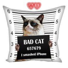 Grumpy Cat Pillow Tardar Sauce, pillow with cat, gifts for cat lovers, Cat Tardar Sauce, cushion with photos, pillow with cat, cushion cat by giftsforloved on Etsy