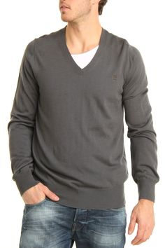 V-Neck Sweater In Grey.