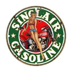 Sinclair Gasoline Pinup Girl Grunge Style Metal Sign USA Made Auto Car Gas Oil Hot Rod Garage Art Wall Decor LS267 by HomeDecorGarageArt on Etsy