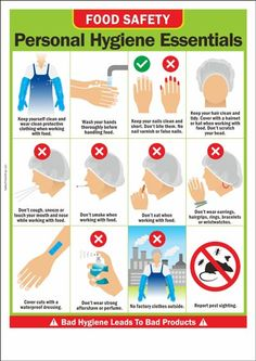 This hygiene graphic reminds food handlers/specialists to wash hands and keep ha. - This hygiene graphic reminds food handlers/specialists to wash hands and keep hair protected - Food Safety Training, Food Safety Tips, Food Tips, Food Safety And Sanitation, Kitchen Hygiene, Grana Extra, Food Handling, Culinary Classes, Safety Posters