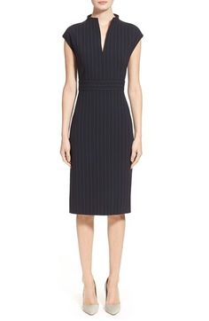 Max Mara 'Firma' Pinstripe Dopio Crepe Dress available at #Nordstrom