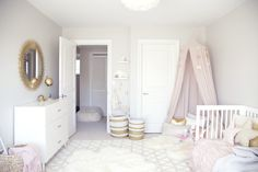 A chic toddler room inspired by Pantone's color of the Year. It pairs rose quartz with gold accents and whimsical details like a play tent and a dress-up corner perfect for a little girl's bedroom. Baby Bedroom, Nursery Room, Bedroom Decor, Room Baby, White Nursery, Girl Nursery, Nursery Themes, Nursery Ideas, Baby Girl Bedroom Ideas