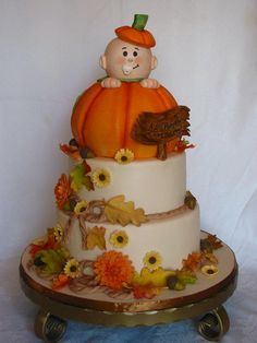 Fall baby shower Griswold holy crap - it's the baby shower idea we made up last week! Baby Shower Cakes, Baby Shower Themes, Baby Boy Shower, Shower Ideas, Baby Shower Fall Theme, Baby In Pumpkin, Little Pumpkin, October Baby Showers, Thanksgiving Baby
