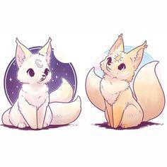 "Naomi Lord on Instagram: ""Drew the ☀️ Sun Fox ☀️ to go with my 🌙 Moon Fox 🌙 Cute Fantasy Creatures, Mythical Creatures Art, Cute Creatures, Cute Kawaii Animals, Cute Animal Drawings Kawaii, Cute Baby Animals, Drawings Of Animals, Cute Fox Drawing, Cat Drawing"