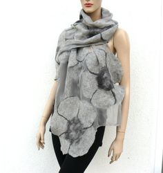Reserved Nuno felted scarf silk and wool gray by MajorLaura