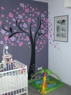 Chambre fille violet mauve turquoise papillons bandes peinture ...
