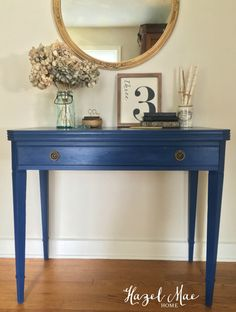 Annie Sloan Napoleonic Blue accent table {by Hazel Mae Home} Annie Sloan Napoleonic Blue accent table {by Hazel Mae Home} Entry Hall Table, Hallway Table Decor, Accent Table Decor, Entryway Decor, Blue Furniture, Painted Furniture, Annie Sloan, Napoleonic Blue, Foyer Design