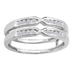 Elora 14k Gold 1/4ct TDW Round Diamond Anniversary Wedding Band Guard Double Ring (H-I, I1-I2) (Size 7, White Gold), Women's, Silver