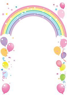 Balloon and rainbow ship frame – Valentine day gifts Birthday Background Design, Kids Background, Rainbow Birthday, Unicorn Birthday, Diy And Crafts, Crafts For Kids, Paper Crafts, Birthday Invitations, Birthday Cards