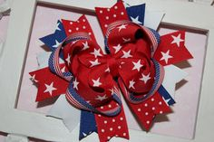 Need it....4th of July Boutique Hair Bow M2MG by sweetiepiehairbows22 on Etsy, $7.99
