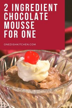 Easy 2 ingredient chocolate mousse recipe made with just cream and chocolate. A rich and creamy single serving dessert that can be whipped up in minutes.
