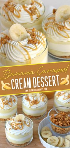 Your new favorite sweet treat! Banana Caramel Cream is a sweet, creamy, and delicious dessert in a jar or a glass perfect to impress family and friends. It is an easy cream dessert recipe with layers yummy goodness! Save this pin for later!
