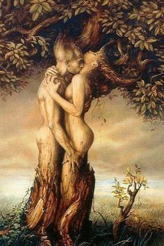 The Lord and Lady depicted as tree spirits in love.
