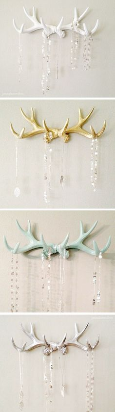 Decor Ideas for My Wild West Antler jewelry hanger wall hooks | white, gold, mint, silver #product_design