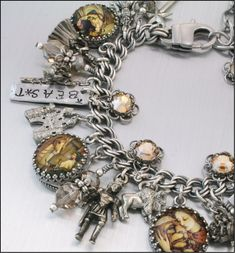 Silver Charm Bracelet, Beauty and the Beast, Fairytale Jewelry, Vintage Inspired Beauty and the Beast Jewelry. $87.00, via Etsy.