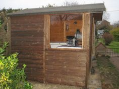 The same garden shed window once an acrylic sheet has been installed.